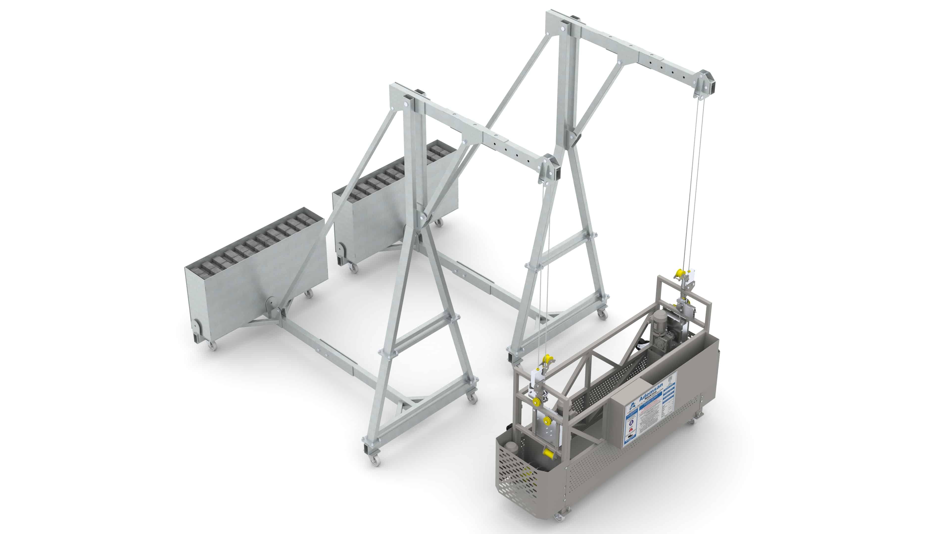 Килевая система с двухместной моющей люлькой и мобильной консолью
